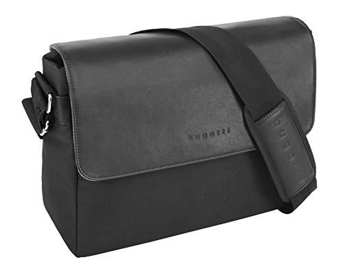 """Bugatti Horizon Messenger Bag für Damen und Herren mit 13"""" Laptopfach, Unisex Umhängetasche Kuriertasche Schultertasche, Schwarz"""