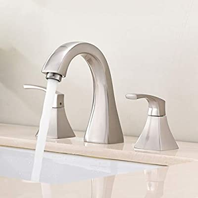 VAPSINT Modern Two Handle 3 Hole Widespread Brushed Nickel Bathroom Faucet,Contemporary Bathroom Sink Faucet Lavatory Vanity Faucet with Hose