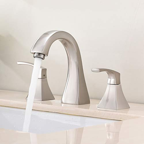 VAPSINT Modern Two Handle 3 Hole Widespread Brushed Nickel Bathroom Faucet,Contemporary Bathroom...