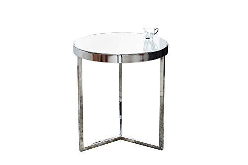 DuNord Design Beistelltisch Glastisch Lille 50cm Chrom/Weiss Design Milchglas Couchtisch