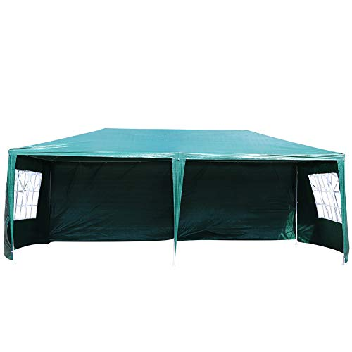 Cocoarm 3x6m Garden Gazebo Marquee Patio BBQ Party Tent Wedding Outdoor Large Canopy Awning Sun Shelter Sidewalls Green UV Protection Party Tent with Bag