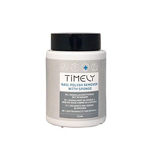 Timely, solvente per unghie facile da usare con spugnetta, 75 ml