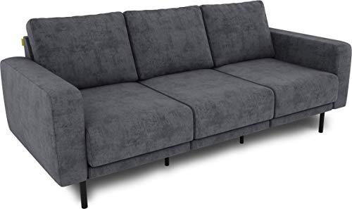 KAUTSCH Mette Dreisitzer Sofa für Wohnzimmer zerlegbar - Couch 3-sitzer - Polstersofa - B 208 cm - ohne Longchair, grau-blau - mit Metallfüße
