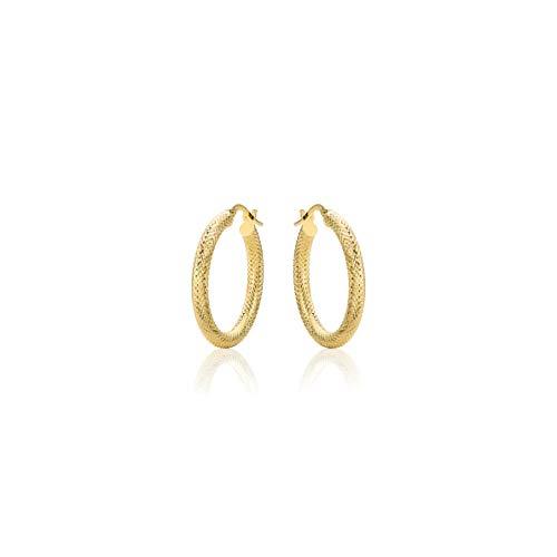 14 Karat 585 Gold Creolen Diamantiert Italienisch Ohrringe Gelbgold (20)