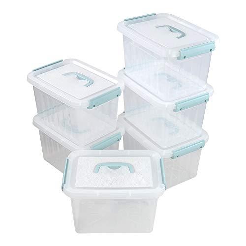 Ikando Cubo de Almacenamiento de Plástico, Paquete de 6, Caja Transparente y Tapa, Asa Verde, 6 L
