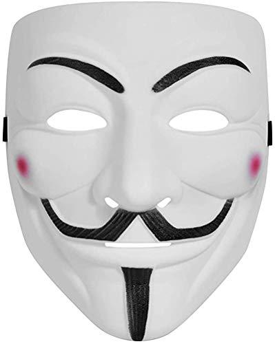 V for Vendetta Mask, Hacker Mask Halloween Masks - Anonymous Guy Masks for Kids Costume White