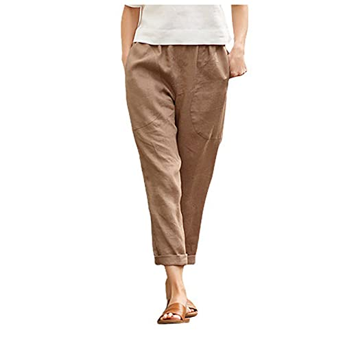 Pantalón informal de lino para mujer, pantalones elásticos para deporte, yoga, etc. Kaki-2. XXX-Large