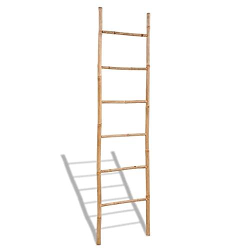 vidaXL Toallero Escalera 6 Peldaños Bambú Organizador Toalla Baño Aseo Diseño