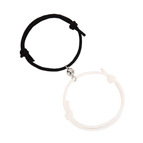 Magnetic Couple Bracelet Set Handmade Rope Adjustable Lover Bracelet for Women Men Boyfriend Girlfirend him and her 2pcs(Black+White)