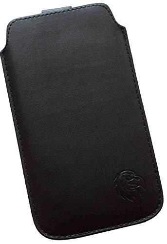 Dealbude24 Schutz Tasche passend für LG G8X ThinQ mit Hülle, Pull tab Hülle herausziehbar, dünnes Etui mit Rausziehband, weiches Microfaser exklusiv Adler SXS Schwarz