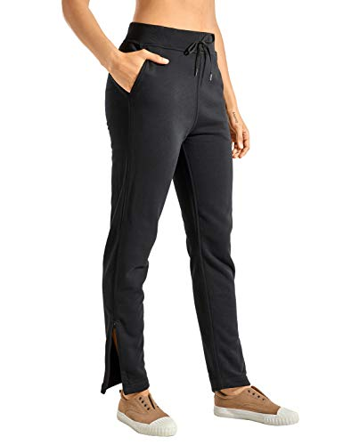 CRZ YOGA Women's Cotton Sweatpants Zipper Ankle High Waisted Joggers Drawstring Lounge Pants with Pockets Black Small