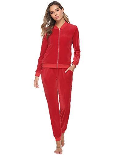 Abollria Damen Nicki Jogginganzug 2 Teiler Velours Hausanzug Kuschlig Freizeitanzug Zip Jacke mit Stehkragen+Hose mit Kordelzug und Taschen,Rot,L