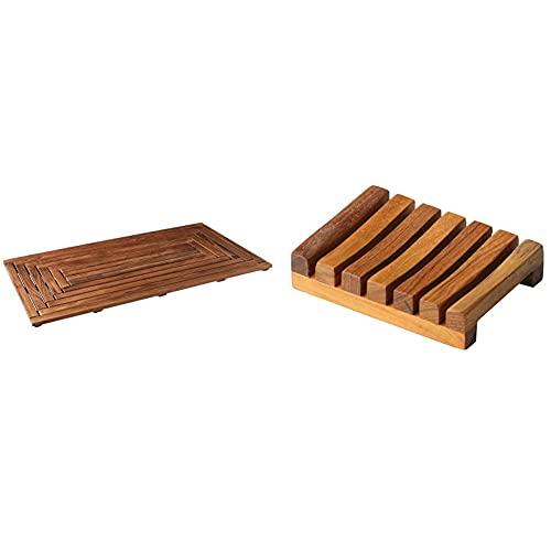 "Bare Decor Giza Shower, Spa, Door Mat in Solid Teak Wood, 36"" x 20"" & Subsy Soap Dish, Teak Wood, Brown"