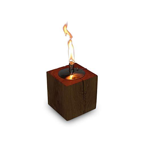 GREENHAUS Tischfackel Eiche 13x13x13 cm Massivholz und Handarbeit aus Deutschland Tischfeuer Outdoor Tischkamin Fackel Edelstahl