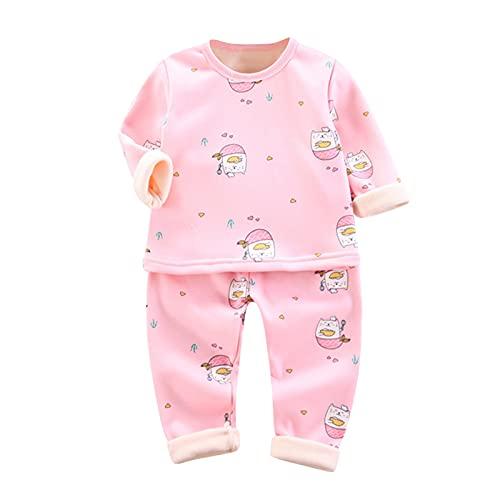 Eejiuqiba Kinderpyjamas Kinder Winter Homewear Winteranzug für Kinder Warme Cartoon T-Shirt Tops Weiche Pyjamas Nachtwäsche Hosen Set