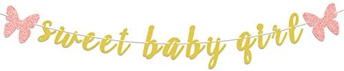 LASKYER Sweet Baby Girl Gold Glitter Garland Banner with Pink Butterfly Perfect for Baby Shower product image