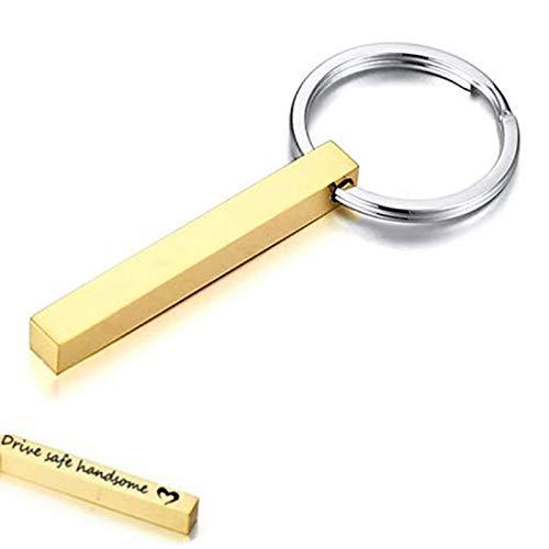 Edelstahl Quader Keychain Vertikale Schlüsselanhänger Personalized Gravur Schlüsselanhänger Minimalistischen Schlüsselanhänger Geschenk Unisex Geschenk Glücksbringer Auto Führerschein - Drive Safe