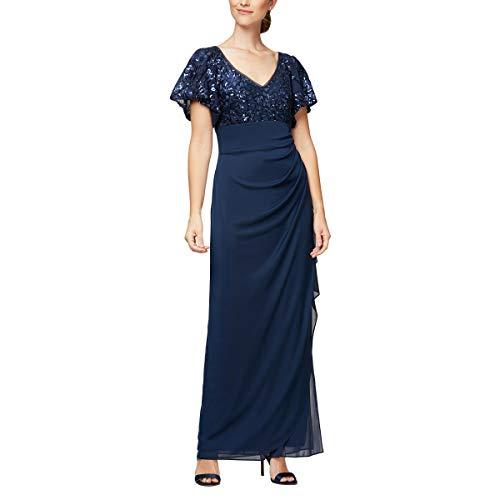 Alex Evenings Women's Petite Long Sequin Dress, Navy Flutter Sleeve, 8P (Apparel)