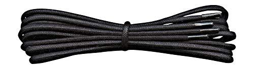 Fabmania 2 mm redondo negro encerado algodón cordones-75 cm de longitud-cordones finos para zapatos de vestir y botas.
