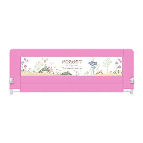 Barrières de lit LHA Barre de lit portative Safety First, Bleu, Rose, Violet (Couleur : Pink, Taille : L-200cm)