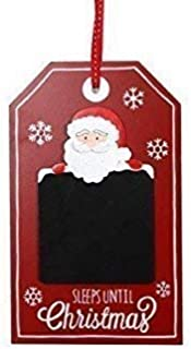 The Home Fusion Company Childrens Red White Santa Sleeps Until Christmas Chalkboard Plaque Hanging Sign