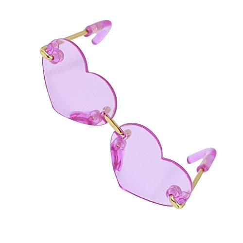 Sharplace Gafas de Sol de Muñeca de Moda Gafas de Sol con Lente Cuadrada / en Forma de Corazón para Accesorios de Muñeca Blythe 1/6 - Púrpura