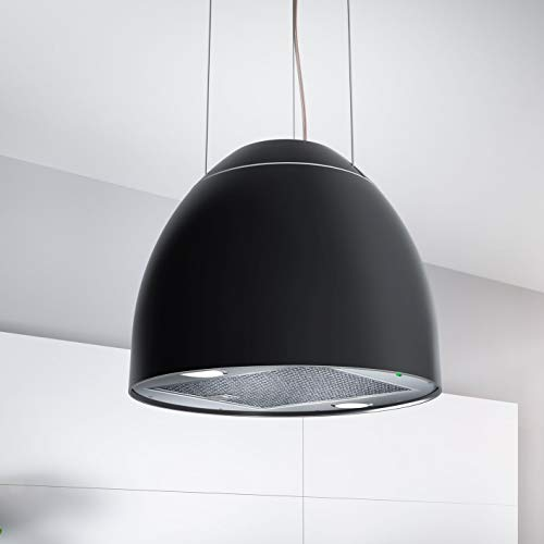 Bielmeier V Inselhaube NEW MOON/Edelstahl/Polymer matt schwarz/Ø 45cm / max. 650 m³/h/EEK: B