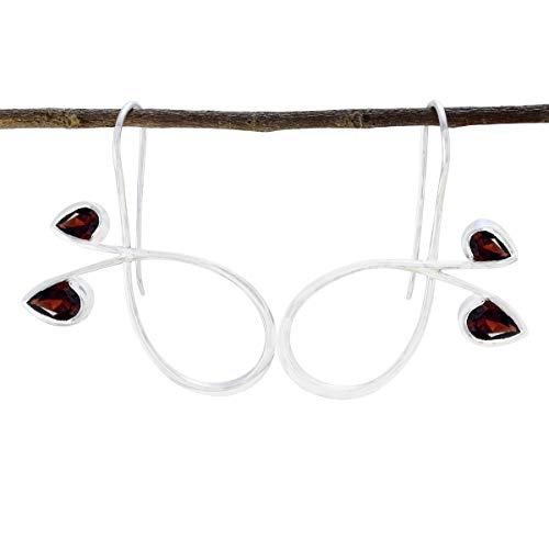 joyas plata bonito granate dos gemas pendientes de plata 925 de diseño facetado en forma de pera