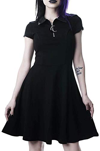 Vestido Casual Gótico 1/4 Zip Polo Manga Corta CamisaVestidos Negro L