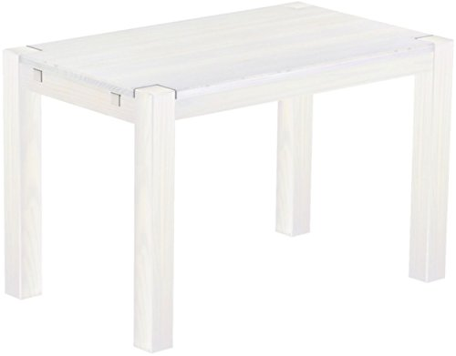 Brasilmöbel Esstisch Rio Kanto 120x73 cm Pinie Weiss Pinie Massivholz Größe und Farbe wählbar Esszimmertisch Küchentisch Holztisch Echtholz vorgerichtet für Ansteckplatten Tisch ausziehbar