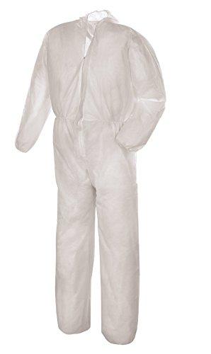 10er Pack PP Einweg-Overall mit Kapuze, weiß (alle Größen)