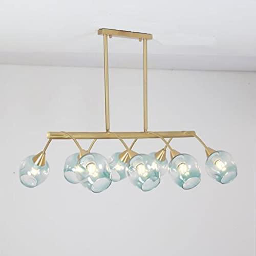 Todo El Cobre Sputnik Chandeliers Creativo Frijol Mágico Lámpara Colgante Cocina Sala Comedor Pasillo Dormitorio Iluminación colgante-Azul 75 * 25cm