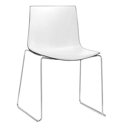 arper Catifa 46 0278 Stuhl zweifarbig Kufe Chrom, weiß schwarz Außenschale glänzend innen matt Gestell verchromt