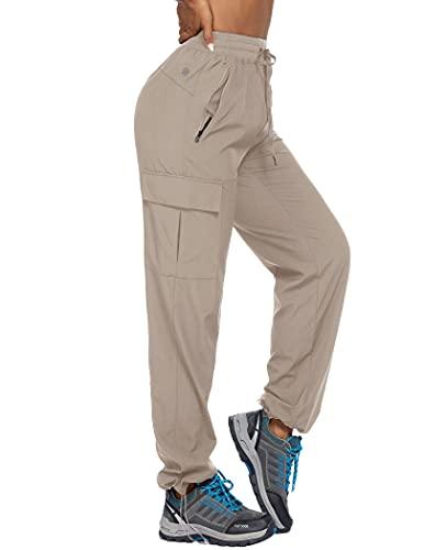 Women's Cargo Joggers Quick Dry Hiking Pants Pockets Athletic Workout Lounge Khaki XXL