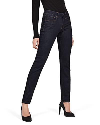 G-STAR RAW 3301 Desconstructed Mid Waist Straight Jeans, enjuagado, 30W / 32L para Mujer