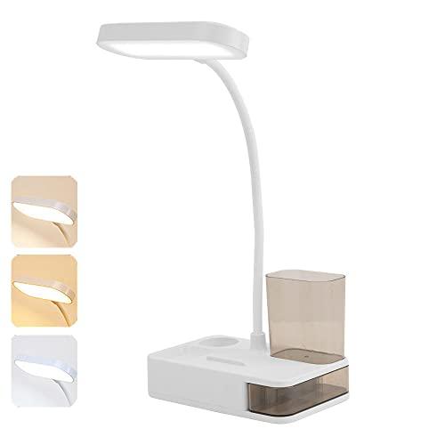 Multifunctionele LED-Tafellamp, USB-Oplaadpoort, Intelligente Aanraking, Opladen Drie-Speed Tafellamp Eye Learning…