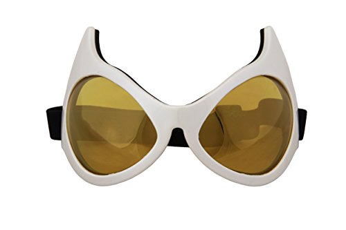 White Cat Eye Costume Goggle Glasses with Rainbow Lenses for men and women