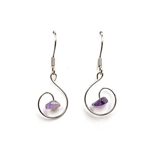 Orecchini pietre naturali, mano gioielli fatta ametista, orecchini viola ametista, pietre preziose, gioielleria