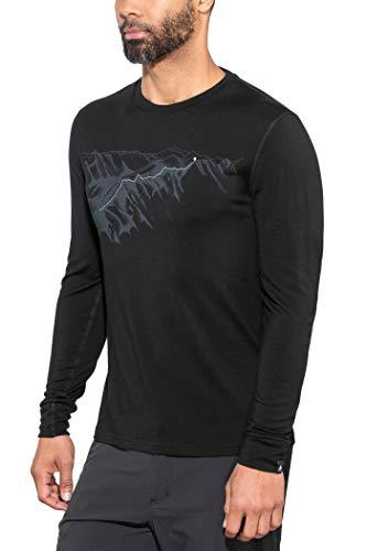Odlo T-Shirt pour Homme BL Top Crew Neck L/S Alliance XXL Noir/imprimé Mountain SS19