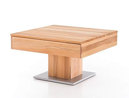 expendio Couchtisch Arnd Kernbuche geölt 75x75x44 cm Sofatisch Massivholztisch Säulentisch Wohnzimmertisch Beistelltisch Wohnzimmer