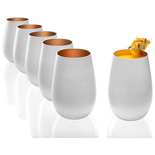 Stölzle Lausitz Elements Gläser 465ml I Trinkgläser 6er Set I Trink-Gläser-Set spülmaschinenfest mit hoher Bruchresistenz I Universalgläser als Wassergläser Saftgläser Whisky Gläser I Weiß Bronze