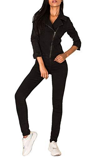 EGOMAXX Damen Jeans Anzug Overall Biker Jumpsuit Hosenanzug Einteiler Asymmetrisch, Farben:Schwarz, Größe:40