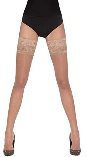 hochwertige edle halterlose Strümpfe und Geschenketasche (versch. Styles und Farben) Gr. S M L Strapse Overknees Dessous (Kama natural M)
