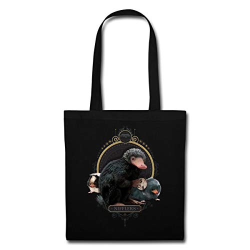 Spreadshirt Fantastic Beasts Niffler Family Tote Bag, black