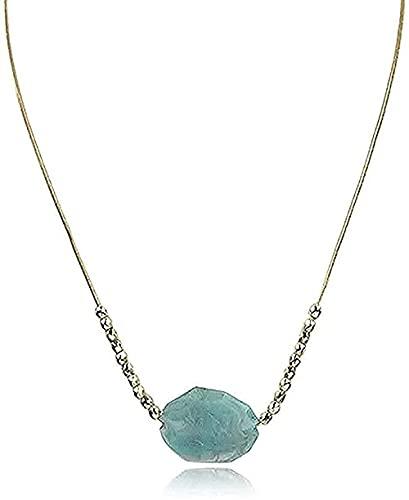TTDAltd Collar de Estilo Vintage con Colgante de Piedra Grande Collar de Cuentas de Color Dorado con Colgante de Piedra Irregular para Mujer Regalo Bohemio