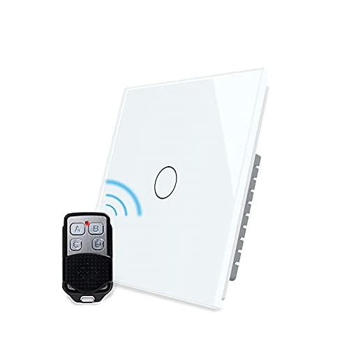 LIVOLO Smart Wireless Remote Control Light Switch White with LED Indicator with Tempered Glass Panel Wall Touch Light Switch 1 Gang 1 Way,No Battery, VL-C301R-61-R
