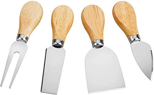 Premium Cheese cutlery,AICMEI 4 Pieces Cheese Knives Set Steel Stainless Cheese Slicer Cheese Cutter with Wood Handle