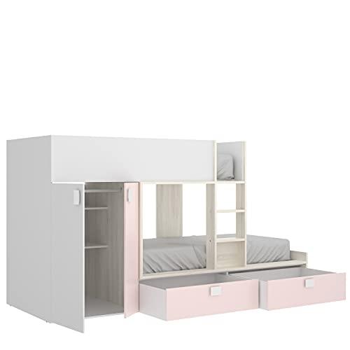 HABITMOBEL Cama Infantil Tren Blanca Rosa con Armario con Barra y 2 cajones almacenaje Permite MONTARSE DE Dos Maneras Distintas