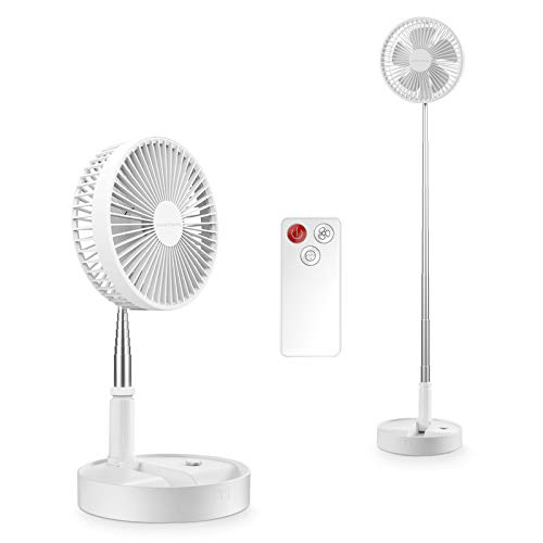 SmartDevil Stand Fan, 2-in-1 Multi-Purpose Folding Portable Telescopic Floor/USB Desk Fan with Remote Control, 4 Speeds Adjustable with 7200 mAh Battery, for Home, Office, Travel, Camping (White)