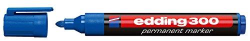 edding 300 Permanentmarker - blau - 1 Stift - Rundspitze 1,5-3 mm - wasserfest, schnell-trocknend - wischfest - für Karton, Kunststoff, Glas, Holz, Metall, Glas